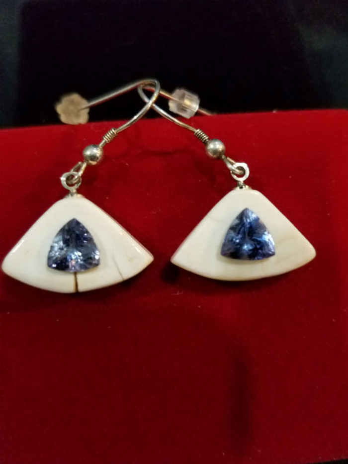 Earring Set - Tanzanite Purple Blue Trillion Pair 3.0ct