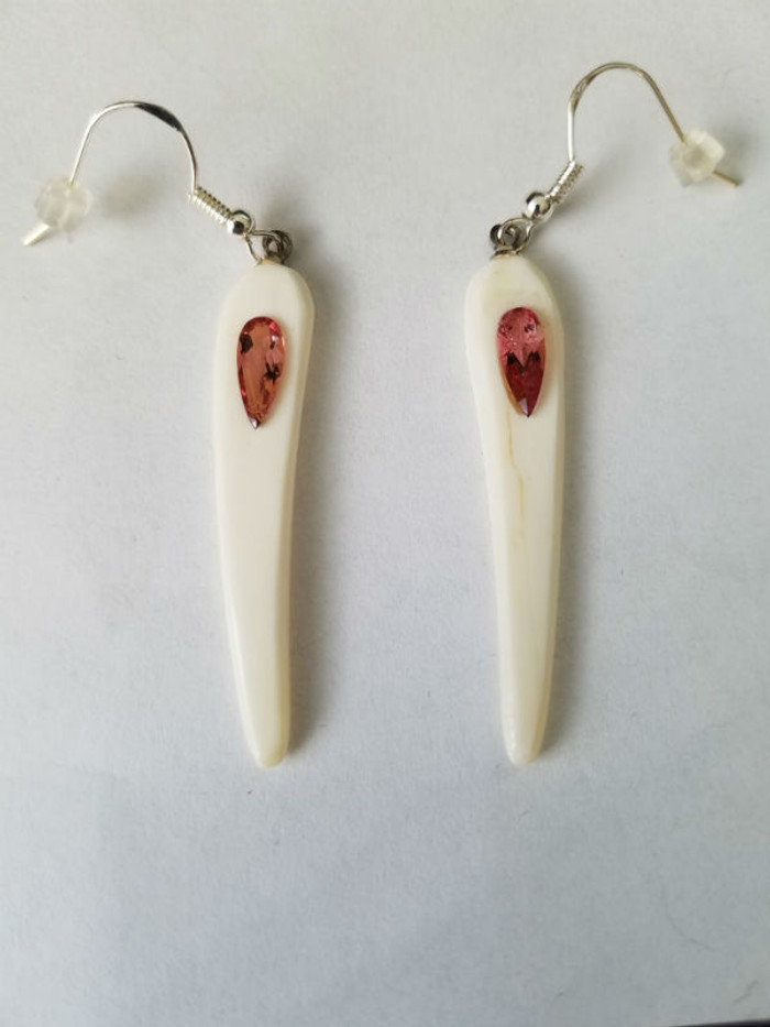 Alaskan Native crafted ivory with natural pear shaped tourmalines as center focal stones of this gorgeous and stunning earring set