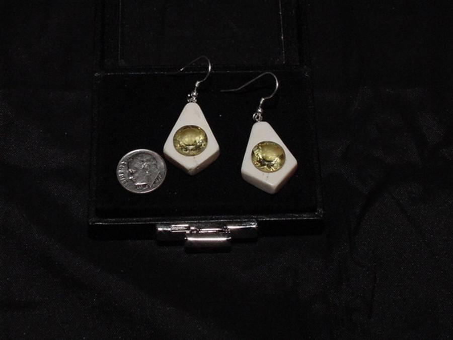 Earring Set - Large Bold Yellow Round Quartz Gem Pair 11.02ct
