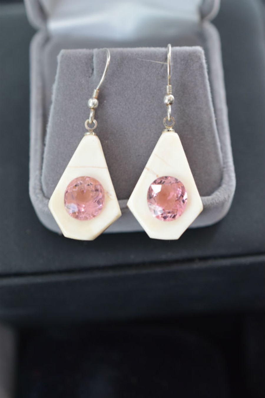 Alaskan Native crafted ivory with large oval natural tourmaline as the stunning center stones of earring set