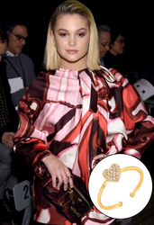 Olivia Holt Wears Mini Mini Jewels Diamond and Gold Heart Ring at Marc Jacobs show NYFW 2/14/2018