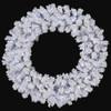 "36"" Flocked Arctic Pine Wreath Winter White LED Lights"