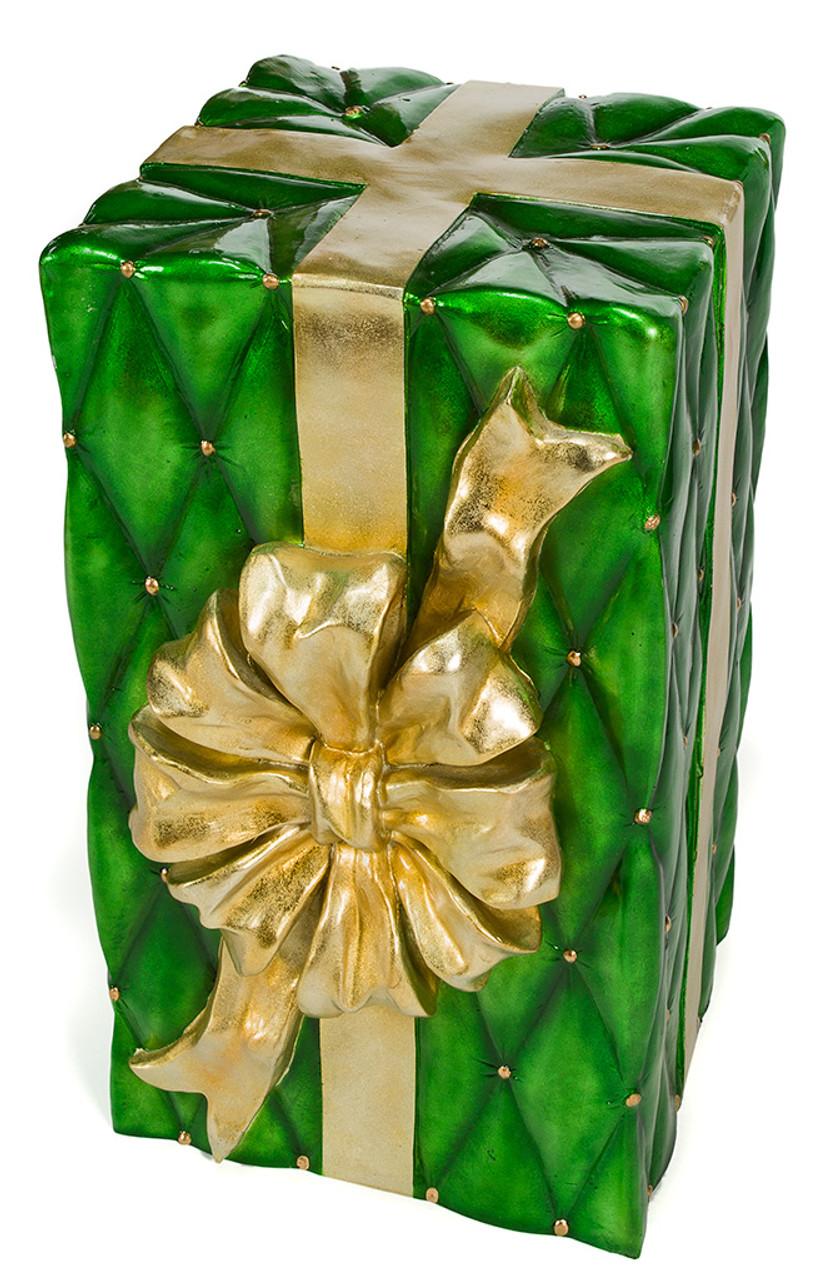 30 inch christmas gift box decoration j 171790 30 gift box greengold
