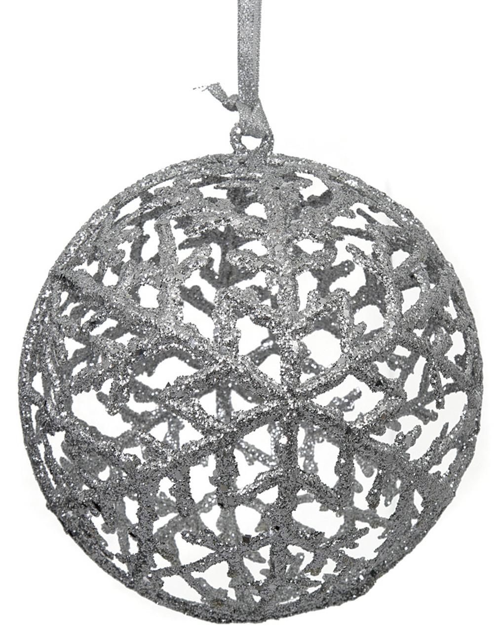 J 172443 6 Glitter Ball Ornament Silver