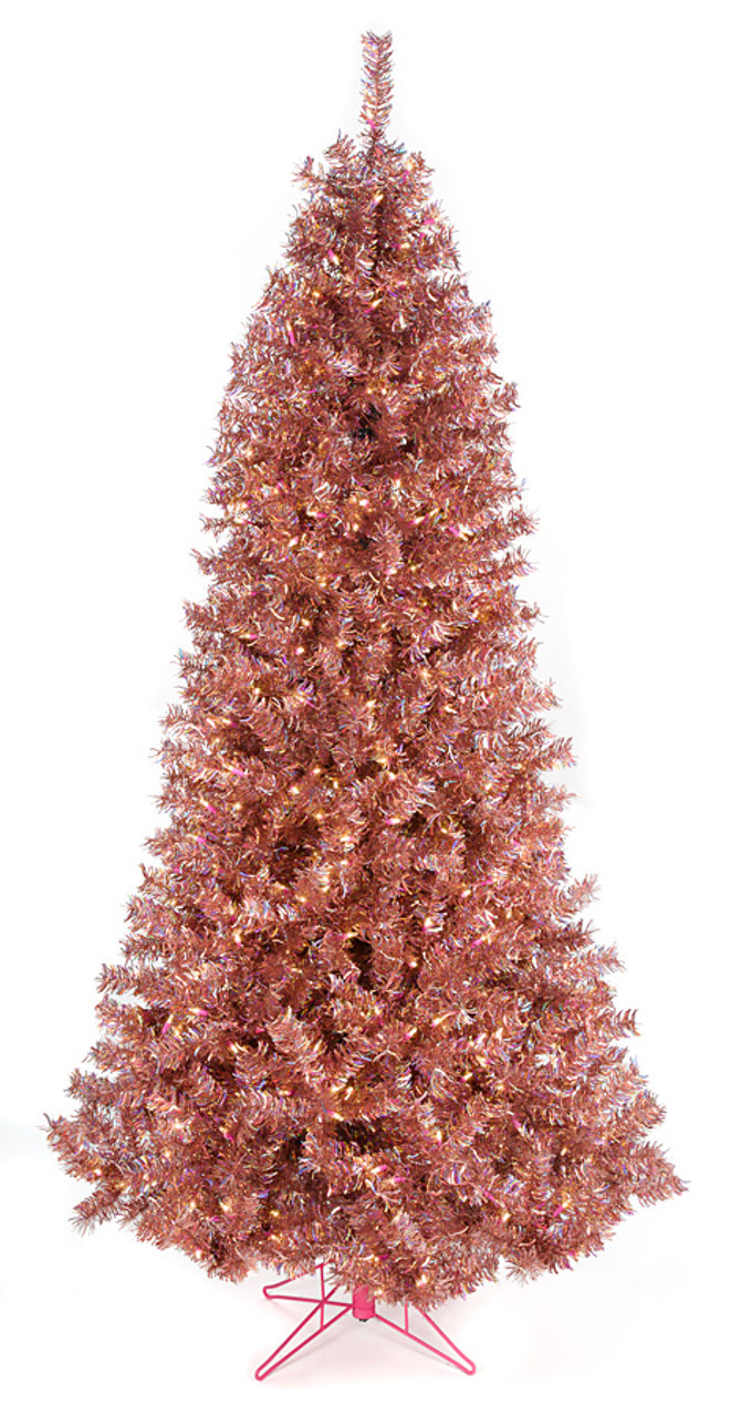 c 171634 75 slim tinsel tree rose gold reflecting warm pinkorange with