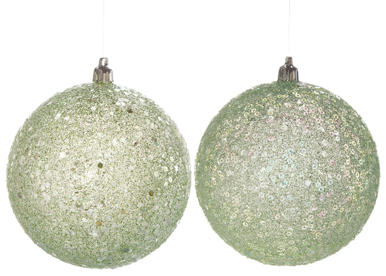 j 121461 4 glitter pastel ball green with silver glitter - Pastel Green Christmas Decorations