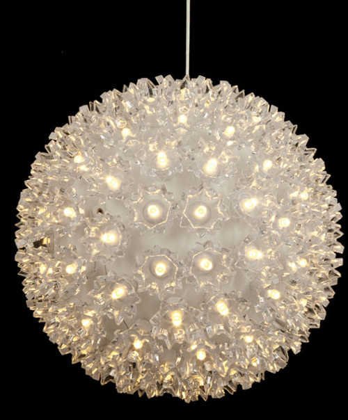 7.5 Inch Hanging White Lighted Sphere