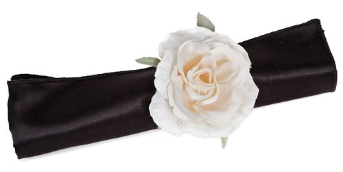 3 Inch Iced Rose Napkin Ring - Cream