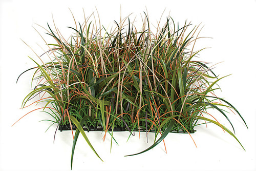 20 x 14 Inches Polyblend Wild Meadow Grass Mat - Tan/Orange/Green