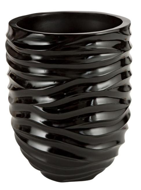 10 Inch Gloss Swirl Pot - Black