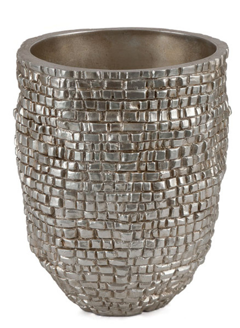 10 Inch x 6.5 Inch Inside Diameter Brushed Silver Flower Pot