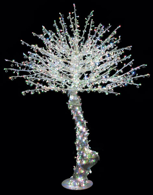 6.5 Foot Lighted Acrylic Tree w/Solid Trunk - White or Multi-Color