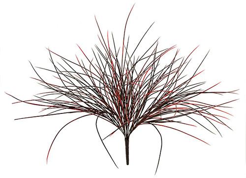 "A-2600 - Red/Black24"" Plastic Grass Bush"