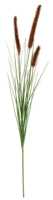 34 Inch Cattail Spray with Onion Grass - Brown/Green