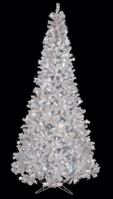 C-1402689' Flocked Arctic Pine Treewith Winter White LED Lights
