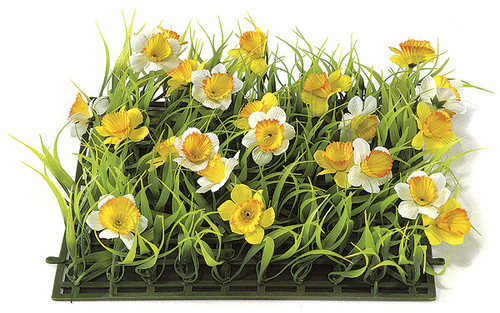 10 Inch Daffodil Plastic Grass Mat - Yellow/White