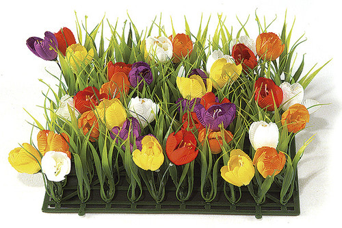 10 Inch Crocus and Plastic Grass Mat - Multi-Colored