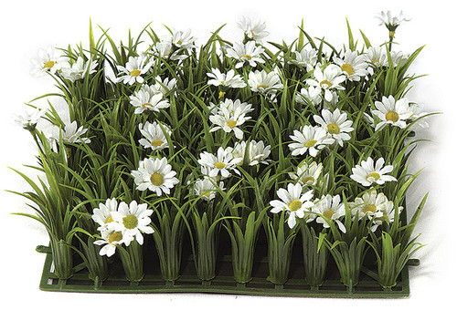10 Inch Daisies and Plastic Grass Mat