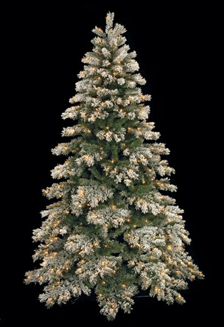 C-901247.5' Flocked Mountain Pinewith LED Lights