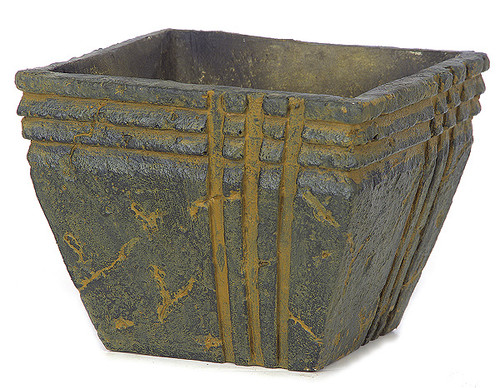 6.5 Inch Lightweight Santa Fe Square Pot - Black/Rust