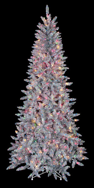 75 silver iridescent tree with multi colored lights - Iridescent Christmas Tree Decorations