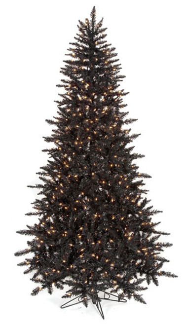 7.5 Foot Black Tinsel Tree with Clear Lights