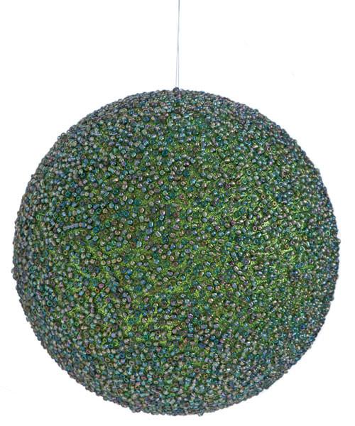 "J-1403155"" Beaded Ball OrnamentGreen/Blue"