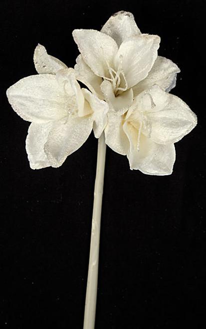 28 Inch Velvet/Satin Amaryllis Stem - Pearl White