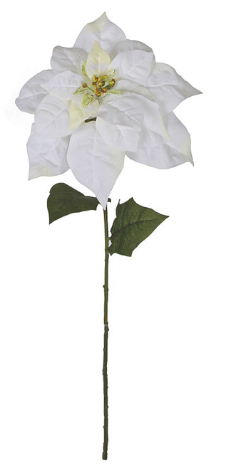 28 Inch White with Cream Velvet Poinsettia Stem Spray