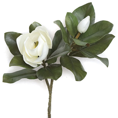 30 Inch White Magnolia Spray
