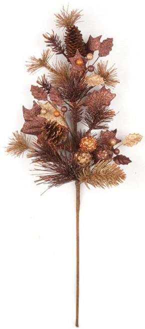 "PF-14032531"" Glittered Pine/Cone SprayCopper/Chocolate"