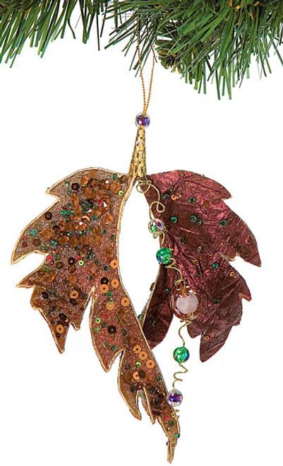 "J-719806.5"" Beaded Leaf Ornament"
