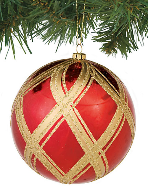 5 Inch Shiny Glittered Ball Red/Gold