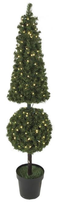 C-600685' PVC Pine Pyramid/Ball Topiarywith LED Lights