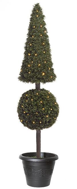 C-600615' PVC Pine Pyramid/Ball Topiarywith Clear Mini Lights