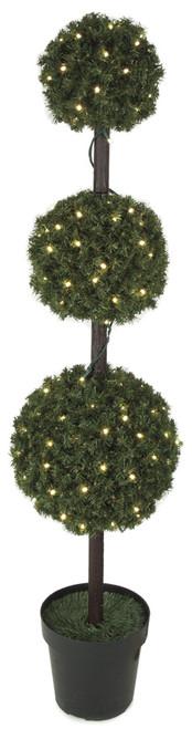 C-601785' PVC Triple Ball Topiarywith LED Lights