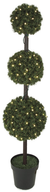 5 Foot PVC Triple Ball Topiary with Lights