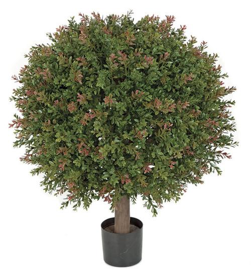 24 Inch Small UV Wintergreen Boxwood Ball Topiary