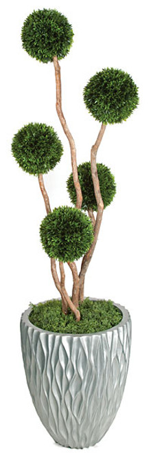 5 Foot Plastic Podocarpus Ball Topiary