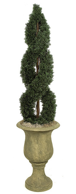 4 Foot and 6 Foot - Double Spiral Cypress Topiaries on Metal Trunk