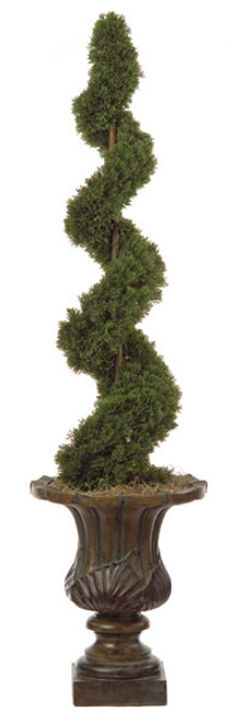 A-50280 4' Cedar Spiral Topiary Decorative Pot Not Included