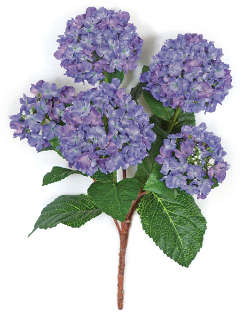 21 Inch Artificial Blue with Purple Hydrangea Bush in Regular or Fire Retardant