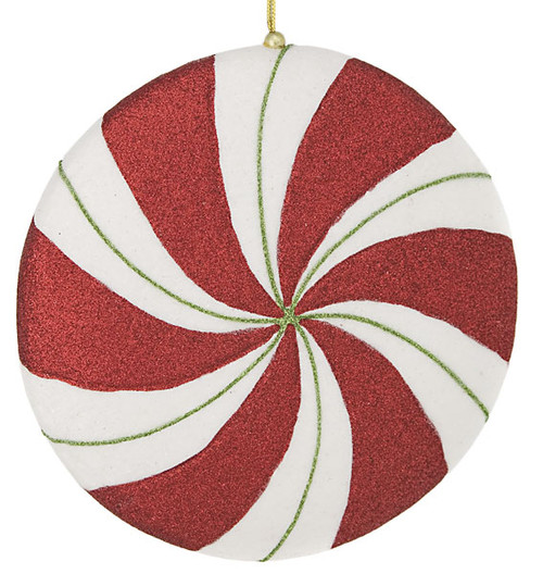 8 inch peppermint candy disc redwhitegreen - Peppermint Candy Christmas Ornaments