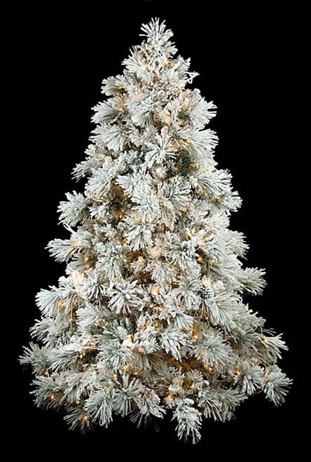 c 70424 75 heavy flocked long needle pine tree full size