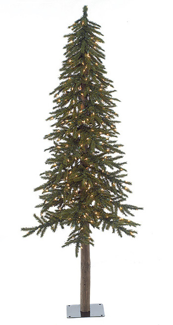 6 Foot Alpine Trees with Clear Lights, LED Lights or No Lights