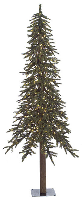 7 Foot Alpine Trees with Clear Lights, LED Lights or No Lights