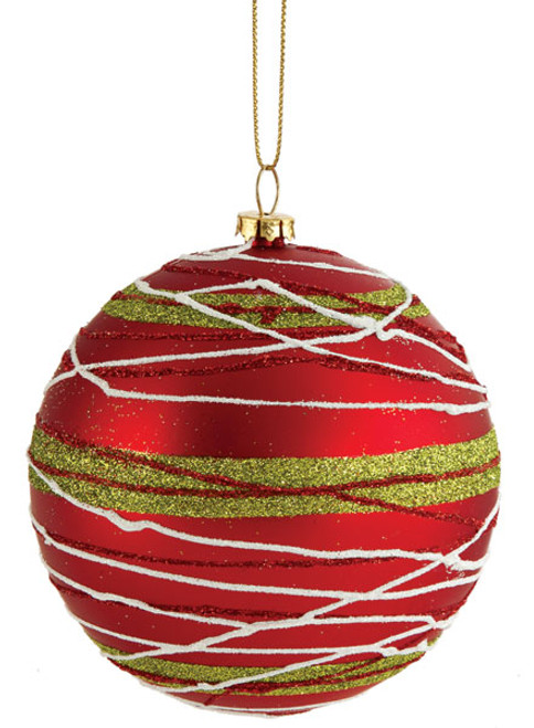 4 Inch Red Ball with Glitter Lines 