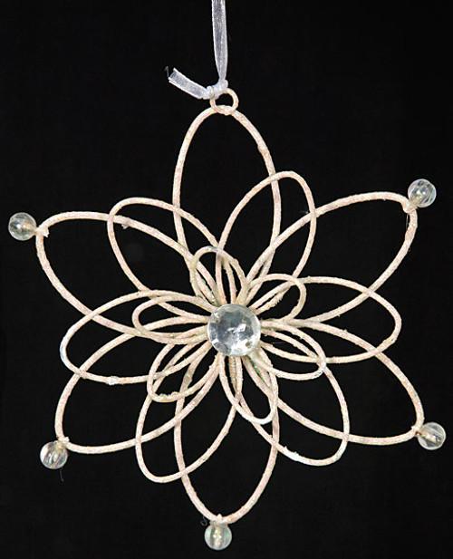 5.5 Inch  Glitter Ivory Snowflake Ornament