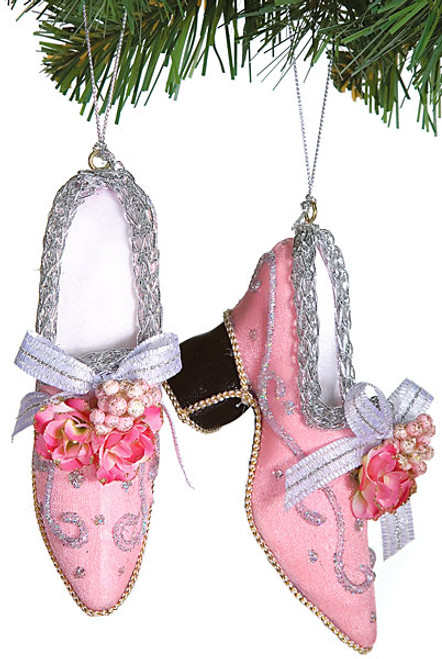 5 Inch Pair of Shoes Ornaments in Pink, Blue, Brown/Burgundy or Cream Colors
