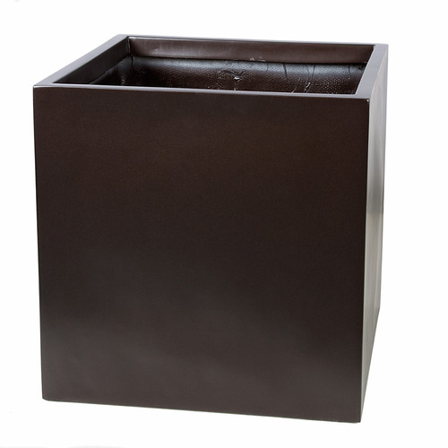 19 Inch x 19 Inch  x 19 Inch Stylish Square Planters  in Gloss Black, Shiny Bronze or Satin Charcoal